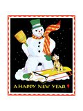Snowman and Dog - Child Life Giclee Print by Eleanor Mussey Young