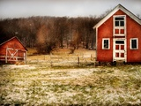 Red Farmhouse and Barn in Snowy Field Metal Print by Robert Cattan