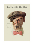 Dog in Hat and Bow Tie Smoking a Cigar Metal Print