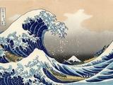 Under bølgen ved Kanagawa Metalltrykk av Katsushika Hokusai