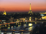 Eiffel Tower and River Seine, Paris, France Metalltrykk av Walter Bibikow