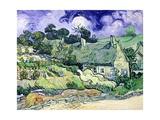 Thatched Cottages at Cordeville, Auvers-Sur-Oise, c.1890 Metalltrykk av Vincent van Gogh