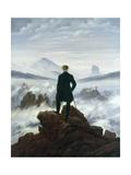 Il viaggiatore sopra al mare di nebbia, 1818 Stampa su metallo di Caspar David Friedrich