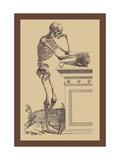 Leaning Skeleton Metalldrucke von Andreas Vesalius