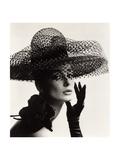 Tania Mallet in a Madame Paulette Stiffened Net Picture Hat, 1963 Metalltrykk av John French