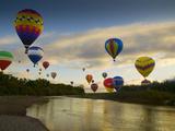 Balloons Soaring About Sandia Mountains and Rio Grande River During Albuquerque Balloon Fiesta Metal Print by James Shive