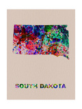 South Dakota Color Splatter Map Metalltrykk av  NaxArt
