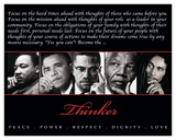 Thinker (Quintet): Peace, Power, Respect, Dignity, Love Poster
