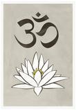 Lotus Meditation AUM Blue White Print Poster Prints