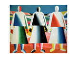 Young Girls in a Field, 1928-32 Giclee-trykk av Kasimir Malevich