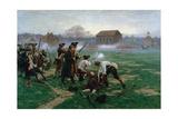 The Battle of Lexington, 19th April 1775, 1910 Reproduction procédé giclée par William Barnes Wollen