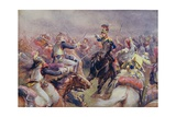 The Charge of the Heavy Brigade Against the French Cuirassiers at Waterloo, from 'British Battles… Giclée-tryk af Christopher Clark