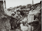 Soldiers Eating in an Advanced Post in the Champagne Region, 1916 Photographic Print by Jacques Moreau