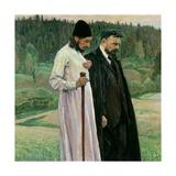 The Philosophers: Portrait of Sergei Nikolaevich Bulgakov and Pavel Aleksandrovich Florensky, 1917 Giclee Print by Mikhail Vasilievich Nesterov