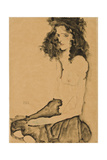 Girl with Black Hair, 1911 Giclee Print by Egon Schiele