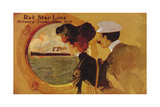 Poster Advertising the 'Red Star Line' from Antwerp to New York Via Dover Giclee Print by  English School