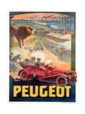 Advertisement for Peugeot, Printed by Affiches Camis, Paris, c.1922 Impressão giclée por Francisco Tamagno