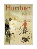 Poster Advertising 'Humber' Bicycles, 1900 Stampa giclée di Maurice Deville