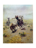Cowboy Roping a Steer Giclée-tryk af Charles Marion Russell