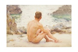 Charlie Seated on the Sand, 1907 Giclee Print by Henry Scott Tuke