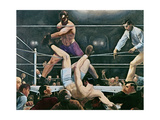Dempsey v. Firpo in New York City, 1923, 1924 Giclée-tryk af George Wesley Bellows