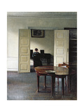An Interior with a Woman Playing Piano, 1910 Giclée-tryk af Vilhelm Hammershoi