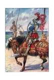 The Knight of the White Moon, Illustration from 'The Adventures of Don Quixote', Published by G.… Giclee Print by Paul Hardy