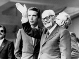 Italian President Sandro Pertini Waves to the Winning Italian Team of the 1 Stampa fotografica