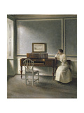 Woman Reading by a Piano, 1907 Giclée-tryk af Vilhelm Hammershoi