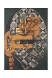 Guitar, Bottle, and Glass, 1914 Impressão giclée por Juan Gris