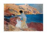 Clotilde and Elena on the Rocks, Javea, 1905 Giclée-Druck von Joaquín Sorolla y Bastida