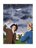 Benjamin Franklin Experimenting with Lightning Giclee Print by John Keay