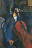 The Cellist, 1909 Stampa giclée di Amedeo Modigliani