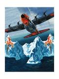 A Lockheed Hercules Patrolling Icebergs for the Coast Guard Giclee Print by Wilf Hardy