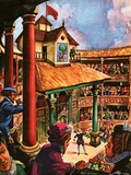 Shakespeare Performing at the Globe Theatre Giclee Print by Peter Jackson