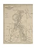 Map of Laos and the Mekong River Showing the Route of the Voyage of Henri Mouhot, Illustration… Giclee Print by  French School