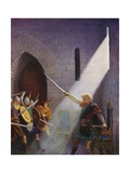 Wallace Draws the King's Sword Giclée-tryk af Newell Convers Wyeth