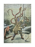 Diver Attacked by an Octopus Giclée-tryk af  French School