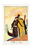 Her and Him, from 'Falbalas and Fanfreluches, Almanach des Modes Présentes, Giclee Print by Georges Barbier