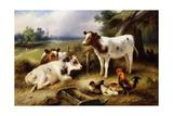 Farmyard Friends, 1923 Giclée-tryk af Walter Hunt