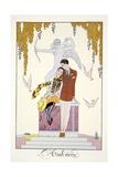 Autumn, from 'Falbalas and Fanfreluches, Almanach des Modes Présentes, Passées et Futures', 1926 Giclee-trykk av Georges Barbier