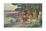 Bathers at Cap Benat, 1909 Gicléetryck av Théo van Rysselberghe