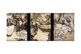 Illustrations to the Morte d'Arthur: Sir Galahad Draws the Sword of Balin f Giclée-tryk af Arthur Rackham