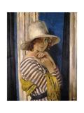 Mrs Hone in a Striped Dress, c.1912 Gicléetryck av Sir William Orpen