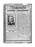 Jaures Assassinated, from 'L'Humanite', 1st August 1914 Reproduction procédé giclée par  French School