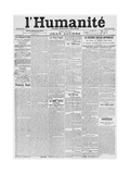 Front Page, First Issue of the Newspaper 'L'Humanite', 18th April 1904 Giclee Print by  French School