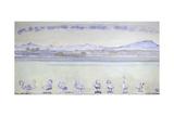 Nine Swans in Front of a Mountainous Landscape; Der Hafen Von Genf, Mit Neu Gicléetryck av Ferdinand Hodler