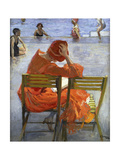Girl in a Red Dress, Seated by a Swimming Pool, 1936 Giclée-tryk af Sir John Lavery
