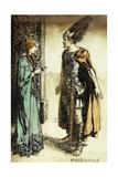 Siegfried Meets Gutrune: The Twilight of the Gods, 1911 Impressão giclée por Arthur Rackham