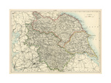 Mapa deYorkshire, Inglaterra, 1870s Lámina giclée
